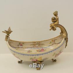 Centre de table Fruitier Ange Cherubin Bebe Style Art Nouveau Porcelaine Bronze