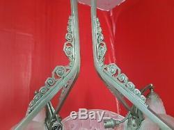 Chandelier Lustre a plaques epoque Art Deco en verre moule et bronze gilles