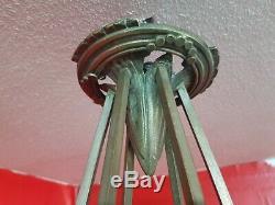 Chandelier Lustre en bronze Art Deco verre moulé vincent hettier petitot degue