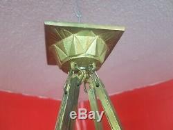 Chandelier lustre a plaques art deco en verre moule et bronze doré degué