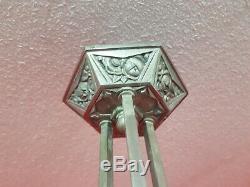 Chandelier lustre art deco en verre moulé et bronze nickele hettier vincent