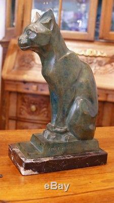 Chat, Sculpture En Bronze Art Déco, Emile Monier, époque 1930