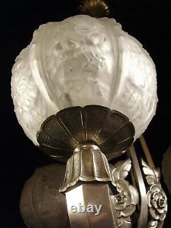 Cherrier & Besnus Lustre Art Déco Bronze Nickelé & Globes En Verre Pressé 1930