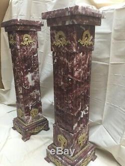 Colonne En Marbre Rouge Avec Decors En Bronze