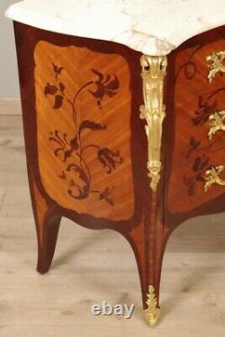 Commode style Louis XV marquetée bronzes dorés