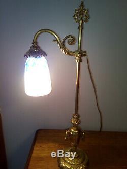 DAUM NANCY GRANDE LAMPE BRONZE DORE AVEC TULIPE art deco charles jansen