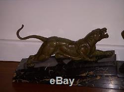 Demeter Chiparus Statue Bronze Chasse A La Panthere Art Deco 1930