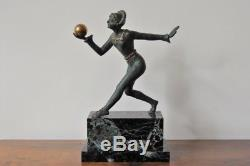 Désiré Grisard bronze Art Déco, danseuse à la boule, signé