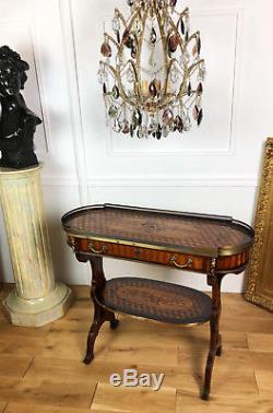 Desserte D'époque Napoléon III En Marqueterie Ornée De Bronze De Style Louis XVI