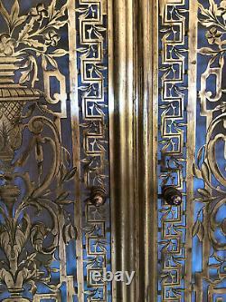 Devant de Cheminée Pare feu Art Déco Laiton / Bronze ajouré 69X75 / Façade