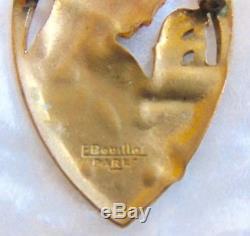 E. Bouillot Paris Broche Ancienne Émaillé Art Nouveau / Art Deco