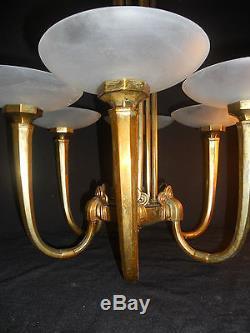 extraordinaire lustre grand createur art deco bronze 6coupelles verre sabl. Black Bedroom Furniture Sets. Home Design Ideas