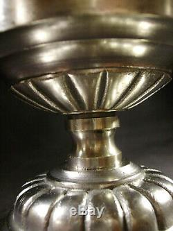 Ejg/j. Gauthier Suspension Art Déco En Bronze Nickelé Obus En Verre Pressé 1930