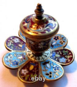 Encrier Art déco, forme fleur à 8 pétales, cloisonné bleu et grenat, marqué 875