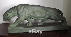 Énorme Tigre, félin ART DÉCO signé G. DEMANGE terre cuite patinée bronze 1930