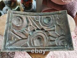 Exceptionnelle plaque d'ornement décoration bronze art déco signée