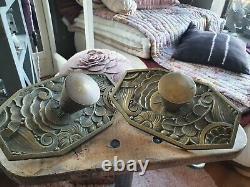 Exceptionnelles poignées et plaques d'ornement décoration bronze art déco