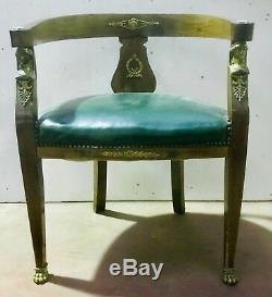 Fauteuil empire en acajou belle ornementation de bronzes fin. XIX siècle