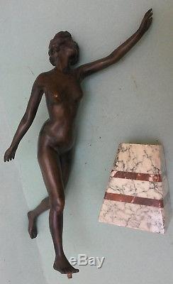 Figurine bronze femme art deco 1930 socle marbre dlg Le Verrier