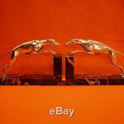Gde Paire de Serre-livres Art Deco Levriers Greyhound en BRONZE argenté Bookends
