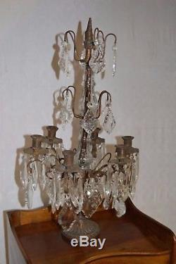 Girandole en bronze avec des pampilles en verre