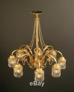Grand Lustre Style Louis XVI En Bronze Doré Et Pampilles En Cristal Taillé