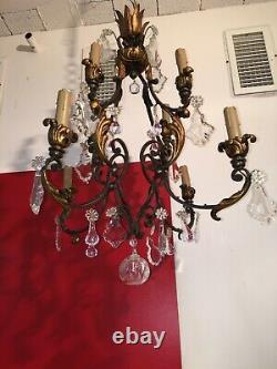 Grand Lustre ancien en bronze et pampilles en cristal 8 feux HY