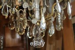Grand lustre ancien à pampilles cristal Baccarat et bronze, 6 lumières H 88 cm