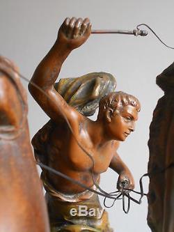 Grande Ancienne Pendule Char Antique Clock Patine Bronze 1900-1920 X. RAPHANEL