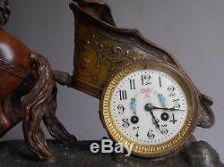 Grande Ancienne Pendule Char Antique Clock Patine Bronze