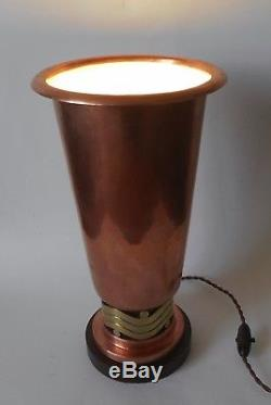 Grande Lampe-vasque Moderniste, Dinanderie Cuivre, Bronze, Noyer, Art Deco, 1930