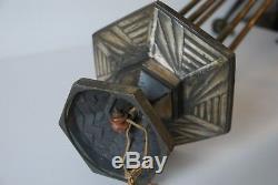 Grande Monture de Lustre Art Déco Bronze Argenté Décor Géométrique An 30.40