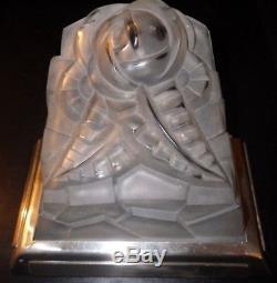 Grande paire applique verre Degué ART DECO bronze argenté lamp sconce bracket