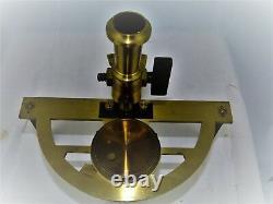 Graphomètre a pinules en acier & bronze avec boussole et fixation