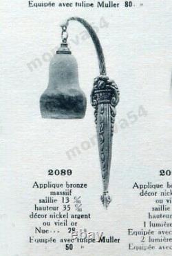 H. Petitot & Muller Frès Paire Dappliques Art Déco En Bronze & Verre Nuagé 1930