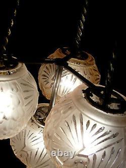 H. Petitot & Muller Suspension Art Déco Bronze Nickelé & Globes En Verre Pressé