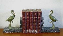 HÉRONS, paire de serre-livres Gual, heron, grue, cigogne, bronze, ART DÉCO, GUAL