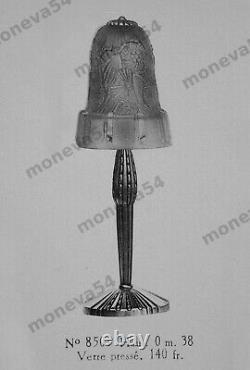 Hettier & Vincent Lampe Art Déco Cataloguée Bronze & Tulipe Verre Pressé 1930
