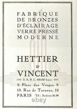 Hettier & Vincent Muller Frères Lustre Art Déco En Bronze Et Tulipes Gravées