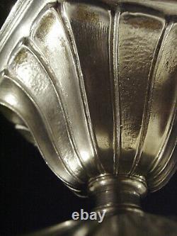 Hettier & Vincent Plafonnier Art Déco Bronze Argenté Et Boule En Verre Pressé