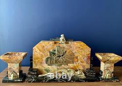 Horloge George Lavrov 1930 Art Déco Marbre Et Bronze