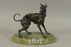 I4l36- Art-Deco Bronze Windhund Borzoi auf Onyx Sockel um 1920/30