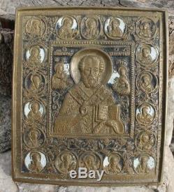 Icone st Nicolas en bronze émaillé russian enamel bronze icon