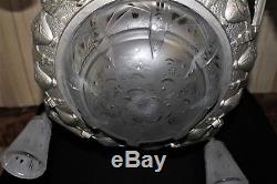 Important lustre Muller frères Lunéville bronze nickelé et verre art déco