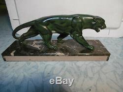 Jaguar/Panther bronze. Régule. Patiné socle marbre art déco. Bon état. À négocier