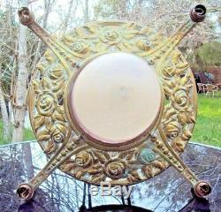 Joli lustre art-déco en bronze et patte de verre signée schneider