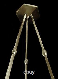 L. Hugue Et Degué Suspension Art Déco Bronze Nickelé & Globe Verre Pressé 1930