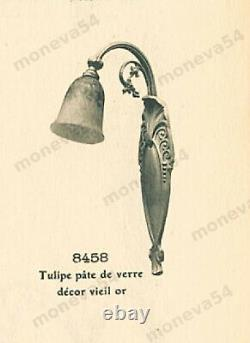 L. Hugue Et Schneider Paire Dappliques Art Déco Bronze & Tulipes Pte De Verre