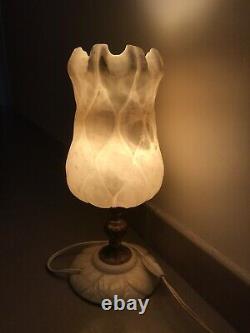 LAMPE Ancienne TULIPE En ALBATRE ART Déco/Nouveau Partie Pied BRONZE 34,5 Cm