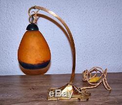 Lampe Tulipe Art Deco Art Nouveau En Bronze Pate De Verre Signe Degue